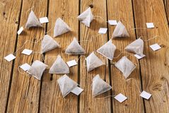 Pyramid tea bags Stock Images