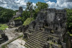 Pyramid and the Temple in Tikal Park. Sightseeing object in Guatemala with Mayan Temples and Ceremonial Ruins. Tikal is an ancient royalty free stock photo