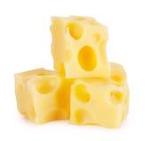 Pyramid of three cubes of cheese Stock Photos