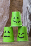 Pyramid of three disposable cups Royalty Free Stock Photos