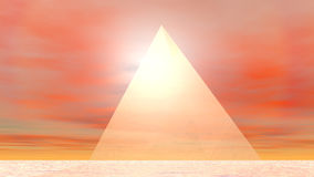 Pyramid to sun - 3D render stock illustration