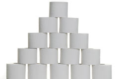 Pyramid of toilet paper Stock Photos
