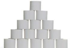 Pyramid of toilet paper Stock Photos