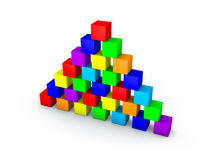 Pyramid from toy building blocks. 3D rendering illustration. Pyramid from toy building blocks.Isolated on white background. 3D rendering illustration Stock Photography