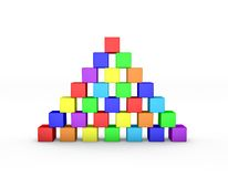 Pyramid from toy building blocks. 3D rendering illustration. Pyramid from toy building blocks.Isolated on white background. 3D rendering illustration.Front view Royalty Free Stock Image