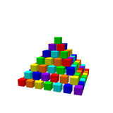 Pyramid from toy building blocks. Vector colorful illustration. Stock Photo