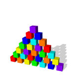 Pyramid from toy building blocks. Vector colorful illustration. Stock Image