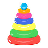 Pyramid toy isolated on white background. vector illustration of icon of children`s toys Stock Photo