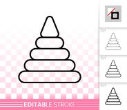 Pyramid Toy simple black line vector icon royalty free illustration