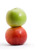 Pyramid of the two apples, isolated Stock Image