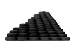 Pyramid of tyres. (computer generated image)-3d Stock Photos