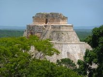 Pyramid at Uxmal in Mexico. Photo taken at Uxmal in Yucatan - Mexico. View of the main mayan pyramid Stock Photos