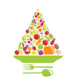 Pyramid of Vegetables and Fruits Stock Images