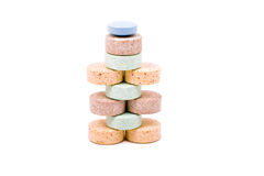 A pyramid of vitamins. Isolated over white background Royalty Free Stock Photography