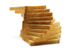 Pyramid of white bread. On the white background Stock Photo