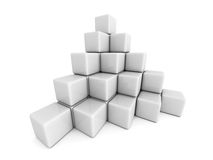 Pyramid of white cube blocks Stock Image