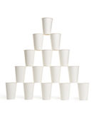 Pyramid of white paper cups Stock Photo