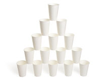 Pyramid of white paper cups Royalty Free Stock Image