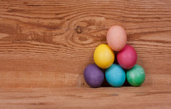 Easter - the pyramid of colored egg Stock Images