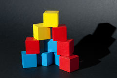 Pyramid of Wooden blocks Stock Image