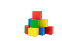 Pyramid from wooden colorful cubes Royalty Free Stock Photos