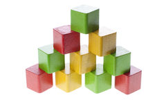 Pyramid with wooden cubes Stock Image