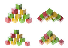 Pyramid with wooden cubes Stock Images