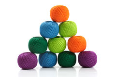 Pyramid of yarn for knitting. On a white background Stock Image