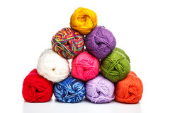Pyramid of yarn Stock Images