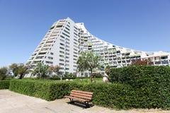 Pyramidal building and architecture in La Grande Motte. France stock image