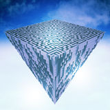 Pyramidal flying  piece of land as maze structure Stock Images