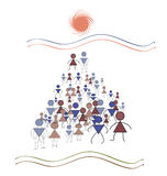 Pyramidal geometry, a lot of people march in the direction of th. Men and women symbols drawn in the vector, the human crowd marches to the sun Royalty Free Stock Photo