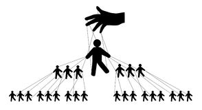 Pyramidal management of people, silhouette vector. Royalty Free Stock Photos