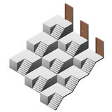 Pyramidal staircase maze with three doors Stock Image