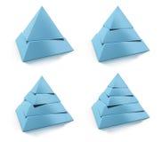 Pyramide- 3d, zwei, drei, vier und fünfstufen Stockfotografie
