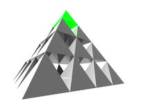 Pyramide abstraite avec le vert Photographie stock libre de droits