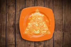 Pyramide alimentaire tirée par la main de plat coloré de plat Photographie stock