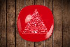 Pyramide alimentaire tirée par la main de plat coloré de plat Image libre de droits