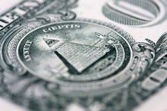 Pyramide auf dem einem Dollarschein Stockfotografie