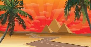 Pyramide bei Sonnenuntergang stockfoto