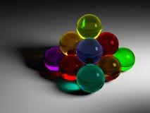 Pyramide coloré de boule en verre Photo libre de droits