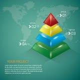 pyramide dans quatre couleurs Photos stock