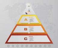 pyramide de 3 étapes avec l'espace libre pour le texte à chaque niveau infographics, présentations ou publicité Photo libre de droits