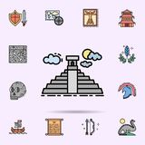 Pyramide de Maya, Mexique, ic?ne de b?timent Ensemble universel d'histoire pour la conception de site Web et le d?veloppement, d? illustration stock