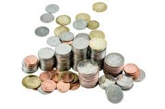 pyramide de pièce de monnaie, pièce de monnaie d'isolement, bain thaïlandais, devise Images libres de droits