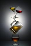 Pyramide der alkoholischen Getränke Lizenzfreies Stockfoto