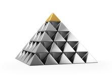 Pyramide der glänzenden silbernen kleinen Pyramiden Stockbild