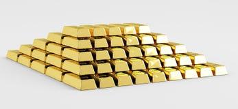 Pyramide der Goldstäbe Stockfotos