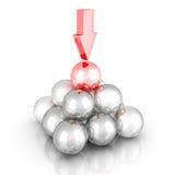 Pyramide des boules en verre avec le dessus et la flèche différents Couvercle de succès illustration stock