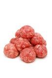 Pyramide des boulettes de viande crues Photographie stock